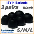Replacement Ear Buds Tips Pads Cushions for Sony XBA-1 XBA-1iP XBA-2 XBA-2iP XBA-3 XBA-3iP @Black