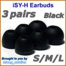 Replacement Ear Buds Tips Pads Cushions for Sony XBA-1 XBA-1iP XBA-2 XBA-2iP XBA-3 XBA-3iP @Black
