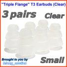 Small Triple Flange Ear Buds Tips Cushion for Ultimate Ears In Ear Earphones TripleFi 10 10vi @Clear