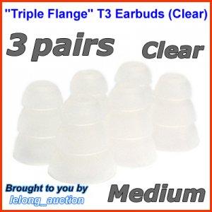 Medium Replacement Triple Flange Ear Buds Tips Cushion for V-MODA In-Ear Earphones Headphones @Clear