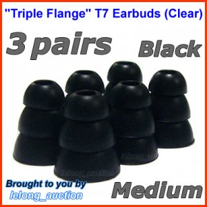 Medium Replacement Triple Flange Ear Buds Tips Cushion for Etymotic In-Ear Earphone Headphone @Black