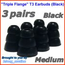 Medium Triple Flange Ear Buds Tip Cushion for Ultimate Ears 100 200 200vi 300 300vi 350 350vi @Black