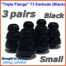 Small Triple Flange Ear Buds Tips Cushion for Ultimate Ears In Ear Earphones TripleFi 10 10vi @Black