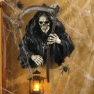 Spooky & Scary Grim Reaper Skeleton Hanging Halloween / Gothic Wall Decor With Candle Lantern