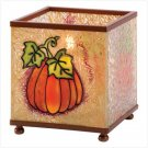 Stained Glass Fall Harvest Halloween & Thanksgiving Square Candle Holder