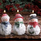 Shimmering Snowman Trio Peppermint Scented Figural Christmas Candle Set