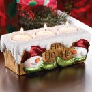 Smiling Snowman Brick Style Ceramic Christmas Candle Holder