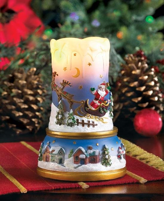 Santa 39 s flight scenic led lighted flameless christmas candle decoration - Appealing christmas led candles for christmas decorations ...