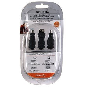 Belkin 3-in-1 USB Adapter Kit w/Storage Pouch