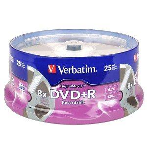Verbatim DigitalMovie 8x 4.7GB 120-Minute DVD+R Media 25-Piece Spindle
