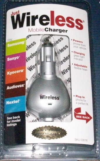 Brand New JUST WIRELESS Universal Mobile Phone Charger  Model#03016
