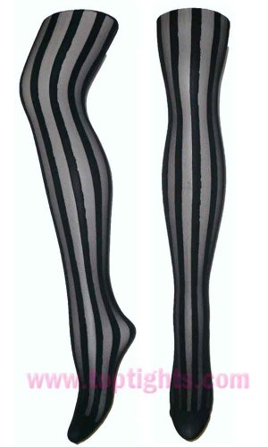 Black Sheer Opaque Vertical Stripe Striped Stockings