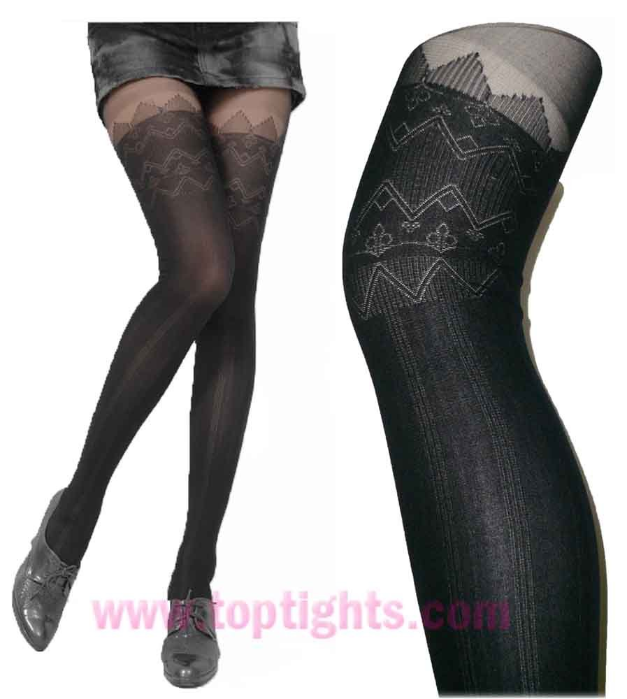 Black  Mock Stockings Tights Lingerie Sheer Opaque Hosiery Pantyhose