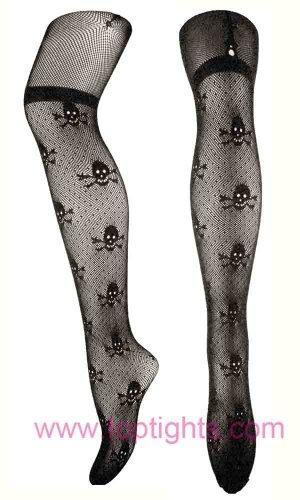 Skull Pattern Mock Suspeder Lace Tights Ladies Fishnet Stockings Women Hosiery Accessories