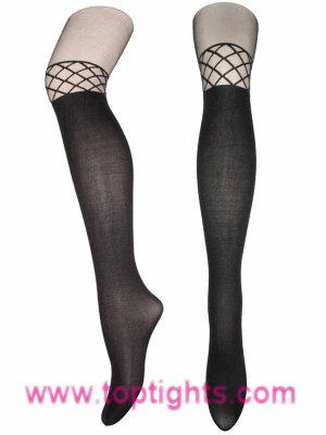 Fence Net Pattern Over The Knee Sheer Tights Fashion Lingerie Floral Hosiery Pantyhose