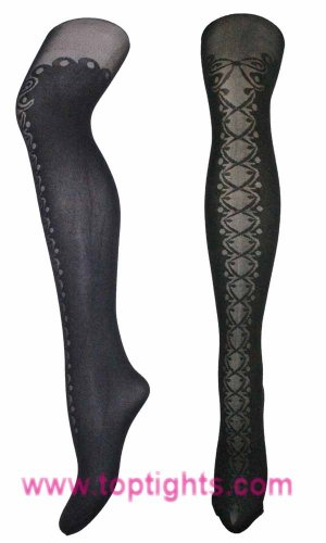 Mock Thigh High Boots Pattern Print Tights Fashion Lingerie Hosiery