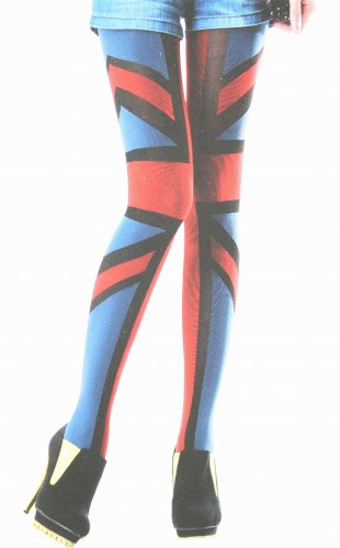 Union Jack Print Color Tights Stockings Patterned Hosiery