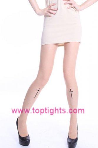 Cross Print Pattern Tights Stockings Vintage Women Hosiery
