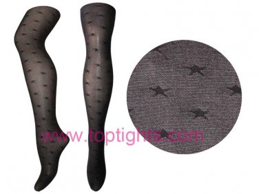 Black Star Pattern Sheer Opaque Tights Pantyhose Sexy Stockings
