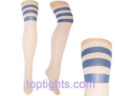 Blue Hoops Stripes Over the Knee Print Tights Kawaii Fairy Kei