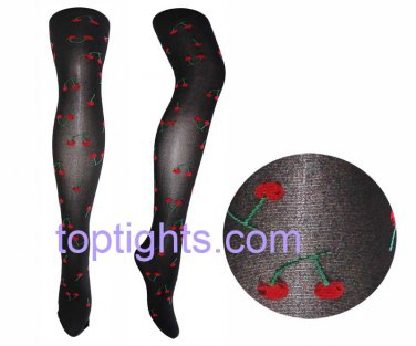 Cherry Print Black Tights Kawaii Fairy Kei Emo Hosiery