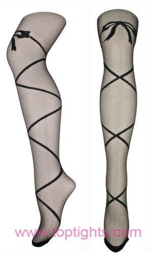 Sheer Criss Cross Bow Pattern Tights
