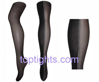 Half Sheer Opaque Pattern Slimming Effect Print Tights