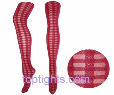 Red Tartan Sheer Opaque Pattern Print Pattern Tights