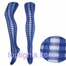 Blue Tartan Sheer Opaque Pattern Print Pattern Tights