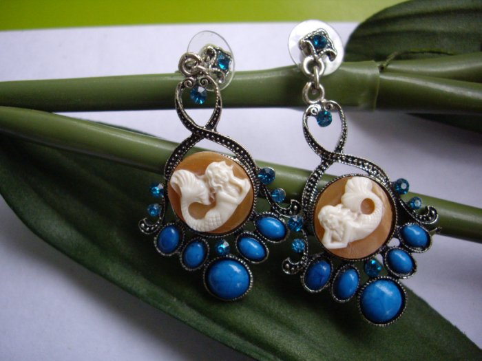 blue diamond turquoise stone with mermaid cameo earring
