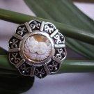 handcraft geniune shell cherubs cameo vintage ring