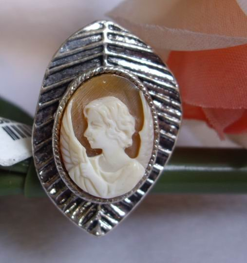 vintage hand carve geniune shell cameo Leaf-shaped ring