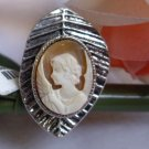 vintage hand carve geniune shell cameo Leaf-shaped ring