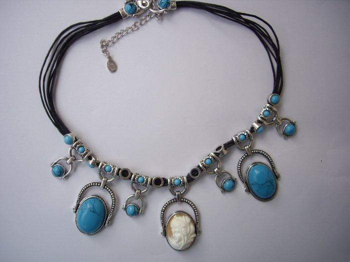 free ship turquoise neckace lady cameo with earring set excellent