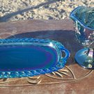 Indiana Glass Blue Carnival partial set Creamer and Tray
