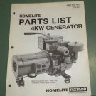 Homelite Generators, Parts List, Part No. 17177 4KW Generator Illustrated