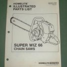 Homelite Super Wiz 66 Part No. 17430 Illustrated 8 pages Parts List