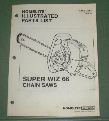 Homelite Super Wiz 66 Part No. 17430 Illustrated 8 pages Parts List