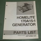 Homelite Generators, Parts List, Part No. 24954 Model 170A15-1 Illustrated