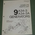 Homelite Generators, Parts List, Part No. 17136 Models 9A34-3 & 3A Illustrated