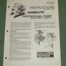 Homelite Pump, Parts List, Part No. 24187-A, Centrifugal Pumps, 120S3-1 & 1A