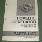 Homelite Generators, Parts List, Part No. 17139-A, Models 176A35-1A & 1B