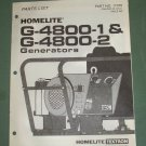 Homelite Generators, Parts List, Part No. 17376, Models G-4800-1 & -2