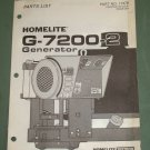 Homelite Generators, Parts List, Part No. 17379, Models G-7200-2 Illustrated