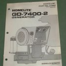 Homelite Generators, Parts List, Part No. 17383, Models GD-7400-2 Illustrated