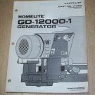 Homelite Generators, Parts List, Part No. 17382, Models GD-12000-1 Illustrated