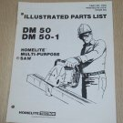 Homelite Multi-Purpose Saw Model DM50 & DM50-1, Part No. 17304 Parts List