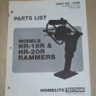 Homelite Rammers Models HR-18R & HR-20R, Parts List, Part No. 17046