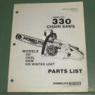 Homelite 330 Chain Saw Models 330, 330SL, 330W, 330 Winter Unit Part 17505 Rev 2