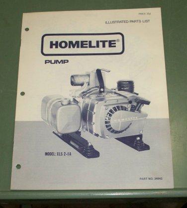Homelite Parts List, Pump, Model XLS 2-1A Part No. 24842 Illustrated